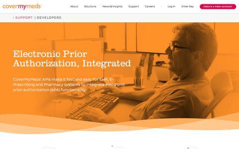 Screenshot of Developers Page covermymeds.com - Developers   CoverMyMeds: Electronic Prior Authorization Platform - captured Nov. 11, 2017