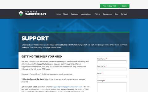 Screenshot of Support Page mortgagemarketsmart.com - Mortgage MarketSmart Support - captured Oct. 10, 2014