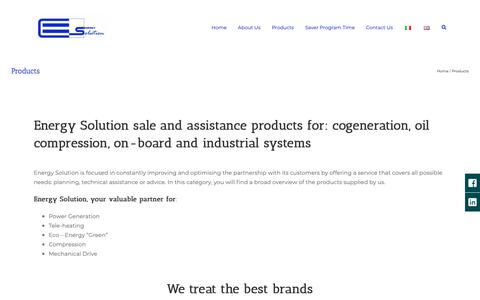 Screenshot of Products Page energy-solution.it - Sales Assistance Cogeneration Products - Energy Solution - captured Sept. 28, 2018