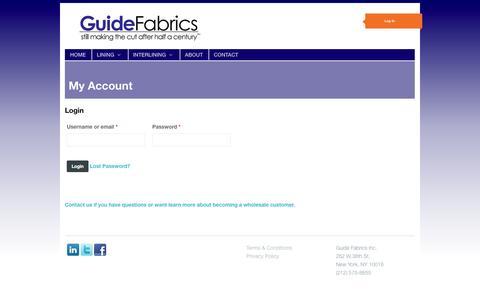 Screenshot of Login Page guidefabrics.com - My Account | Guide Fabrics - captured Sept. 30, 2014