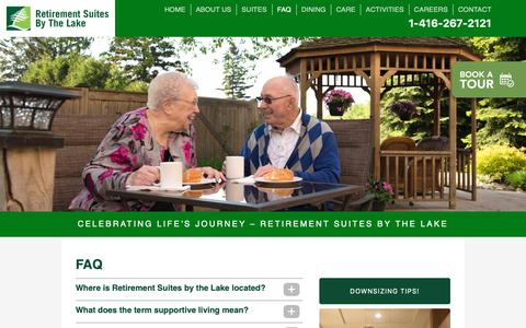 Screenshot of FAQ Page suitesbythelake.ca - FAQ – Retirement Suites By The Lake - captured Oct. 18, 2018