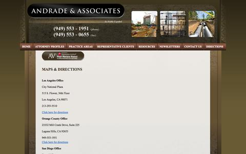 Screenshot of Maps & Directions Page andradelaw.com - California Construction Law Lawyers   Mission Viejo Construction Defects Attorneys   Andrade & Associates - captured Oct. 4, 2014