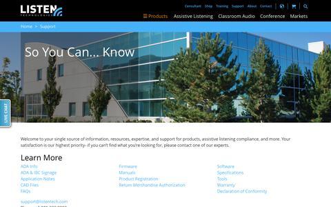 Screenshot of Support Page listentech.com - Support | Listentech - captured Oct. 1, 2015