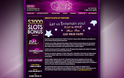 Screenshot of About Page slotsoffortune.com - Slots of Fortune • $3000 Welcome Bonus  • Fair Gaming & Security - captured Oct. 3, 2014