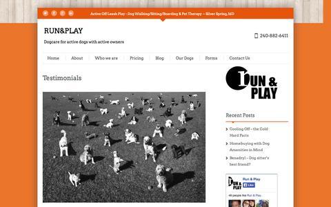 Screenshot of Testimonials Page runandplaymd.com - Testimonials | RUN&PLAY - captured Oct. 6, 2014