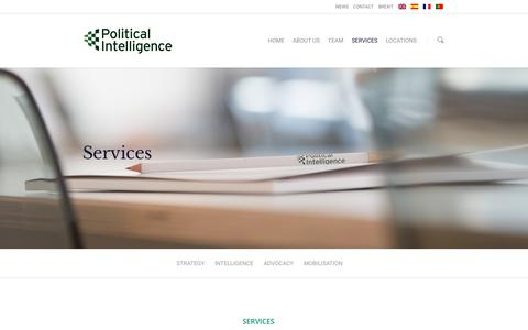 Screenshot of Services Page political-intelligence.com - Public affairs services London | Political Intelligence - captured Jan. 23, 2019