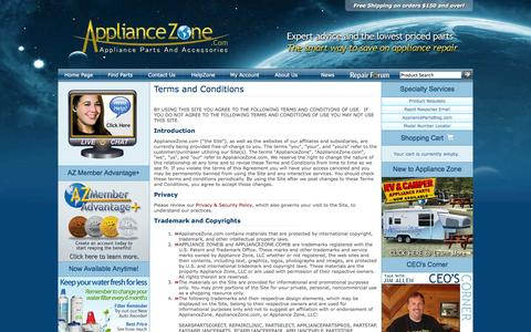 Screenshot of Terms Page appliancezone.com - ApplianceZone.com Terms and Conditions - captured Sept. 23, 2014