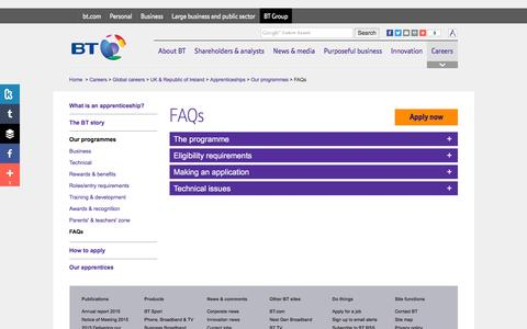 Screenshot of FAQ Page btplc.com - FAQs - captured April 6, 2016