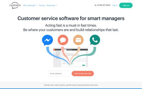 Screenshot of Home Page casengo.com - Flexible customer service and helpdesk software |     Casengo - captured July 17, 2019