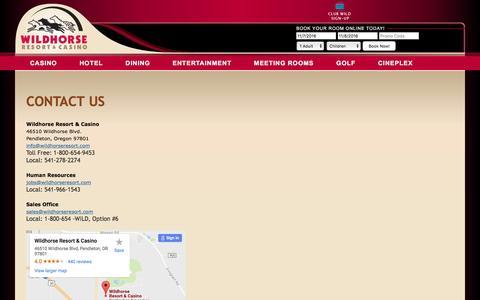Screenshot of Contact Page wildhorseresort.com - Contact Us | Hotels in Pendleton OR | Oregon Resorts | Wildhorse Resort & Casino | Wildhorse Resort & Casino - captured Nov. 7, 2016