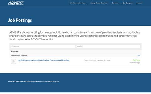 Screenshot of Jobs Page adventeng.com - Job Postings – Advent Engineering, Inc. - captured Nov. 19, 2016