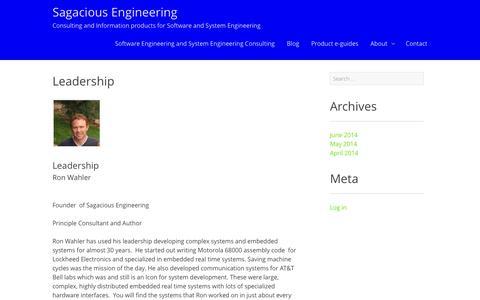 Screenshot of Team Page sagaciousengineering.com - Leadership - Sagacious Engineering - captured Sept. 30, 2014
