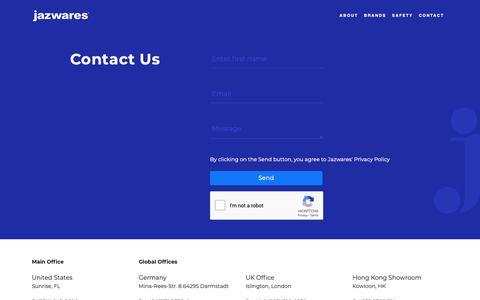 Screenshot of Contact Page jazwares.com - Contact Jazwares - captured Dec. 20, 2018
