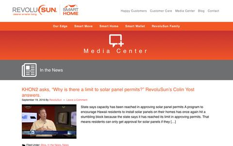 Screenshot of Press Page revolusun.com - In the News - captured Nov. 24, 2016