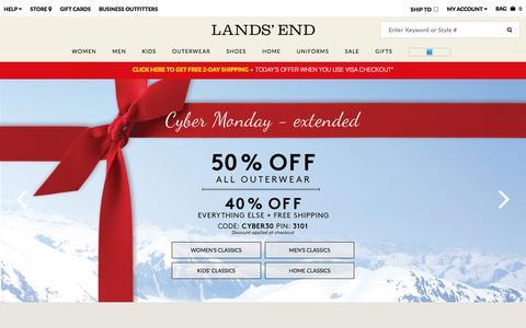 Screenshot of Home Page landsend.com - Lands' End | Coats, Sweaters, Dresses, Gifts & More - captured Dec. 1, 2015