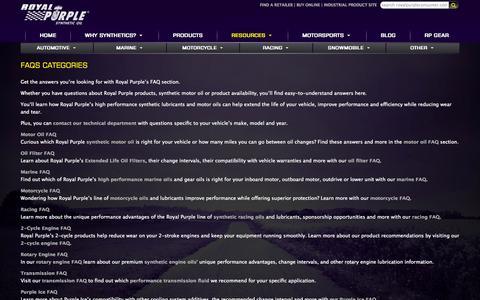 Screenshot of FAQ Page royalpurpleconsumer.com - Synthetic Oil & Lubricant FAQs Answered | Royal Purple - captured Sept. 19, 2014