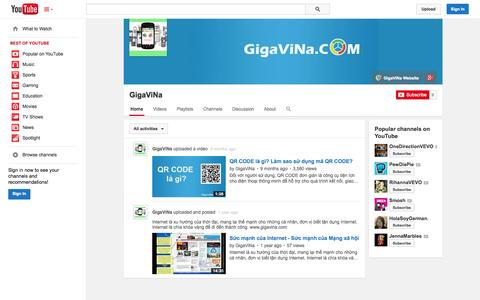 Screenshot of YouTube Page youtube.com - GigaViNa  - YouTube - captured Oct. 22, 2014