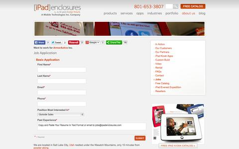 Screenshot of Jobs Page ipadenclosures.com - Contact ArmorActive for Available Job Openings . iPad Enclosures - captured Sept. 25, 2014