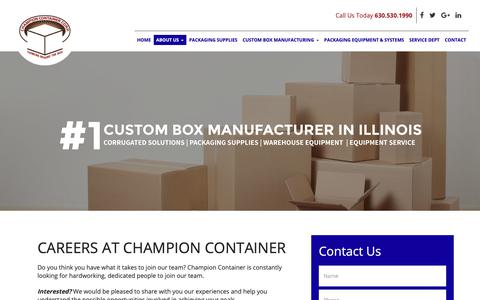 Screenshot of Jobs Page champion-container.com captured Sept. 27, 2018