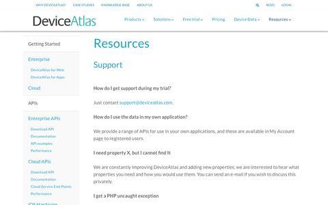 Screenshot of Support Page deviceatlas.com - Support - captured Dec. 3, 2018