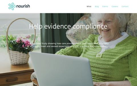 Screenshot of Signup Page nourishcare.co.uk - Help evidence compliance — Welcome to Nourish - together we care better - captured Feb. 27, 2016