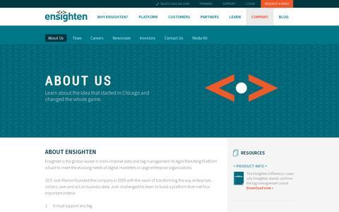 Screenshot of About Page ensighten.com - Ensighten Enterprise Tag Management | About Us - captured July 19, 2014