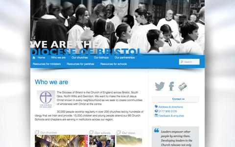Screenshot of About Page anglican.org - Who we are | Diocese of Bristol - captured Sept. 19, 2014