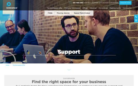 Screenshot of Support Page workspace.co.uk - View our Support Section | Workspace - captured Jan. 29, 2016