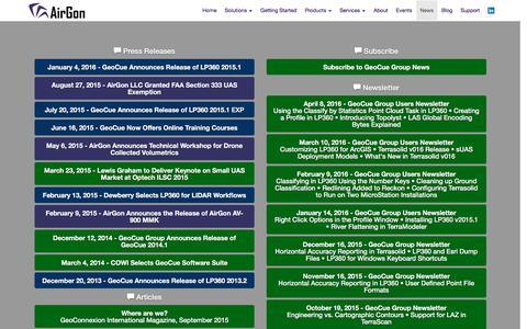 Screenshot of Press Page airgon.com - GeoCue - News - captured April 22, 2016