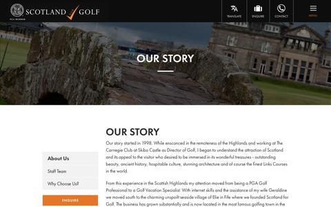 Screenshot of About Page scotlandforgolf.co.uk - Our Story | About Scotland for Golf | Scotland for Golf - captured July 28, 2018