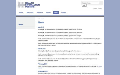 Screenshot of Press Page hidinc.com - Health Information Designs, LLC. » News - captured July 19, 2014