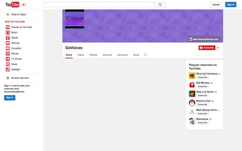 Screenshot of YouTube Page youtube.com - GoVoices  - YouTube - captured Oct. 23, 2014