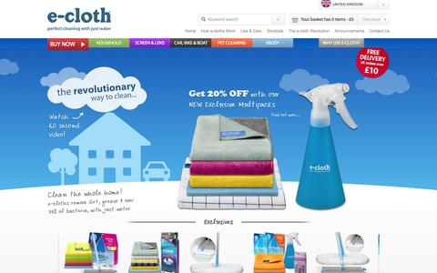 Screenshot of Home Page e-cloth.com - e-cloth - Perfect cleaning with just water using unique microfibres - captured Jan. 27, 2015