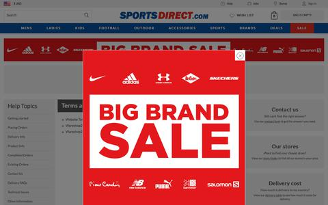Screenshot of Terms Page sportsdirect.com - Terms and Conditions | Sports Direct USA - captured Jan. 8, 2018