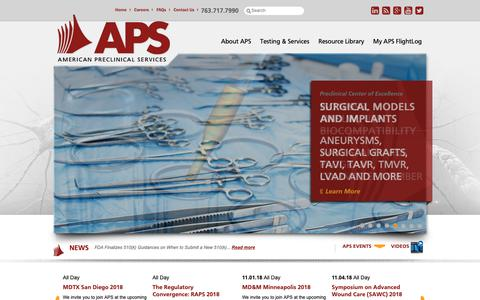 Screenshot of Home Page americanpreclinical.com - Preclinical CRO: Biocompatibility, Medical Devices and Pharmaceuticals | American Preclinical Services - captured Oct. 3, 2018