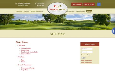 Screenshot of Site Map Page commongroundgc.com - Main Menu   CommonGround Golf Course - Aurora, CO - captured Oct. 8, 2014