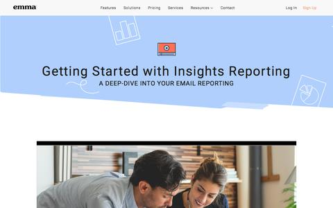 Screenshot of Trial Page myemma.com - Getting Started with Insights Reporting - captured Nov. 27, 2019