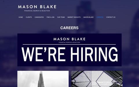 Screenshot of Jobs Page masonblake.com - CAREERS – MASON BLAKE - captured Jan. 9, 2016