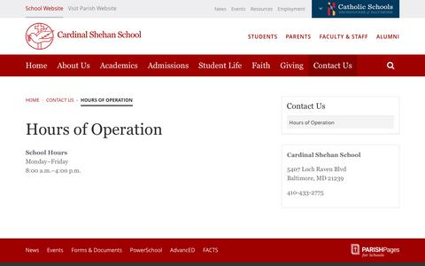 Screenshot of Hours Page cardinalshehanschool.org - Hours of Operation | Cardinal Shehan School - captured June 22, 2016