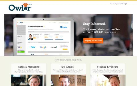 Screenshot of Home Page owler.com - Owler   Track private & public companies for free. - captured Sept. 17, 2014