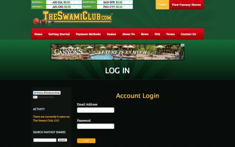 Screenshot of Login Page theswamiclub.com - The Swami Club - Fantasy Sports at it Best! - captured Oct. 26, 2014