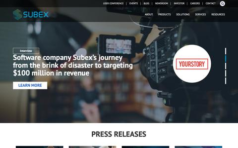 Screenshot of Press Page subex.com - Newsroom | Latest News and Trends - Subex Limited - captured May 16, 2019