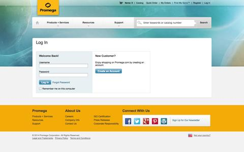 Screenshot of Login Page promega.com - Promega - captured Sept. 25, 2014