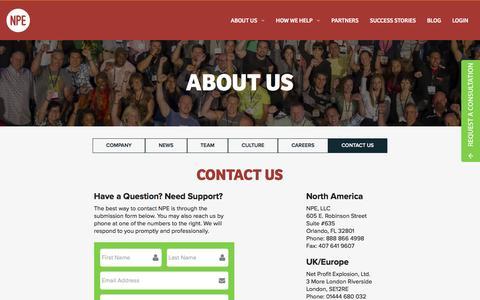 Screenshot of Contact Page netprofitexplosion.com - About Us | Net Profit Explosion - captured Jan. 14, 2016