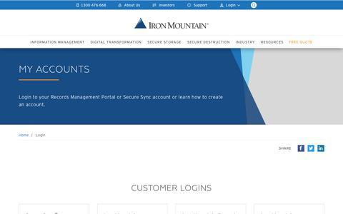 Screenshot of Login Page ironmtn.com.au - Log into your Account | Iron Mountain AU - captured Dec. 19, 2018