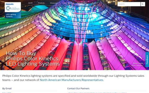 Screenshot of Contact Page colorkinetics.com - Philips Color Kinetics - How To Buy Philips Color Kinetics LED Lighting Systems - captured Nov. 5, 2018