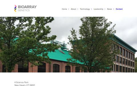 Screenshot of Contact Page bioarray.us - Contact - Bioarray Genetics Bioarray Genetics - captured Nov. 22, 2016