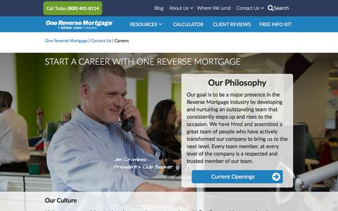 Screenshot of Jobs Page onereversemortgage.com - Careers | One Reverse Mortgage - captured Sept. 20, 2018