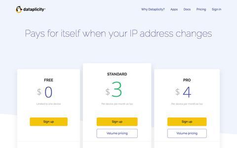 Screenshot of Pricing Page dataplicity.com - Pricing | Dataplicity - captured Aug. 9, 2018