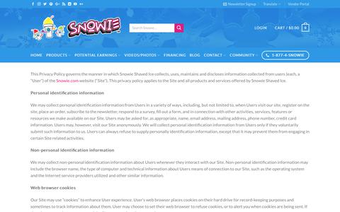 Screenshot of Privacy Page snowie.com - Privacy Policy | Snowie - captured July 8, 2017